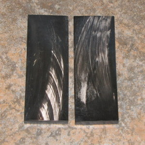 Buffalo Horn Black W/White Streaks Slab 1/4  x 1 3/8 x 4 1/4 Pair