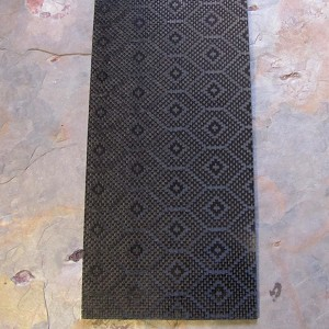 Carbon Fiber Geometric patch Pattern Top Layer With G10 Black Center 1/8 x 5 x 12