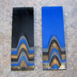 "G-WOOD BLUE, COOL GRAY & BLACK WITH NATURAL WOOD VENEER 1/4"" = .230""-.250"""